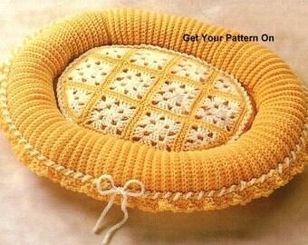 INSTANT DOWNLOAD PDF,  Digital File Crochet Pattern - Cat Bed Pattern, Dog Bed Pattern, Cozy Pet Bed Crochet Pattern