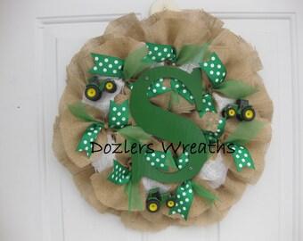Personalized John Deere Burlap Wreath