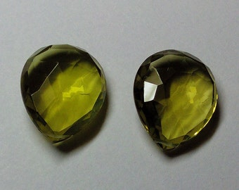 Green Gold Quartz Faceted Pear Gemstone Beads 18X23mm AAA Matched Pair (2pcs.)