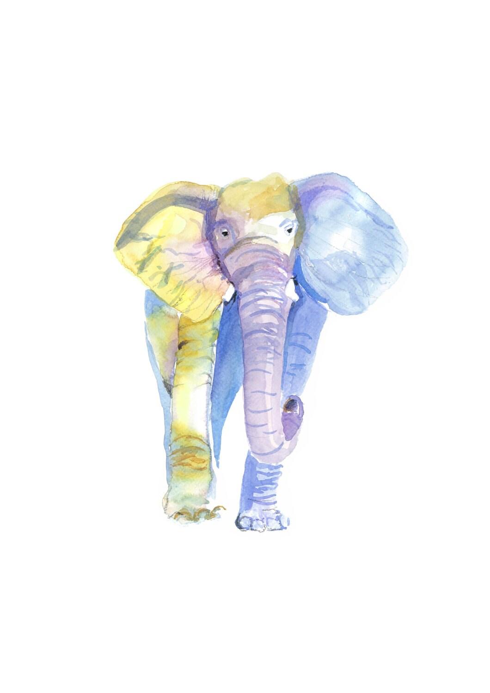 Druckbare aquarell elefant wand kunst wohnzimmer clipart for Wand kunst wohnzimmer