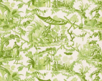 SCHUMACHER Warp CHINOISERIE ASIAN Cathay Toile Fabric 10 yards Green