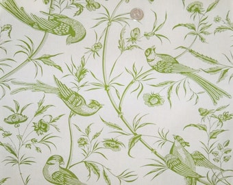 BRUNSCHWIG & FILS BENGALI Birds Toile Fabric 10 Yards Green Off White