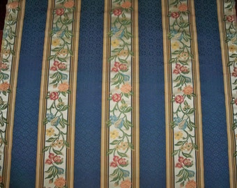 DESIGNER FRENCH COUNTRY Floral Fruits Stripes Fabric 1 Yard Remnant Blue Multi