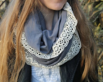 Gray Loop Scarf with Vintage Lace, Infinity Scarf, Womens Fashion Scarf, Handmade Spring Accessory, Unique scarf