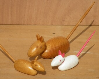 Rat sculptures and wooden mouse