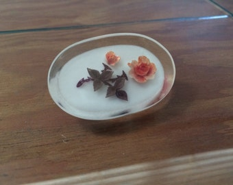 Vintage Cute Lucite Floral Brooch