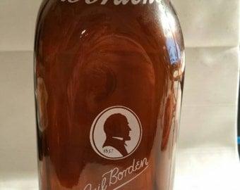 Borden's Brown Gail Borden Milk Bottle