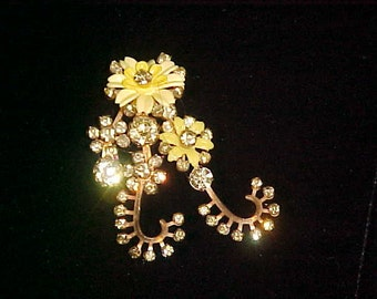 yellow and rhinestone vintage brooch