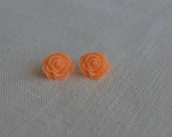 Apricot and Eggshell White Resin Rose Earrings