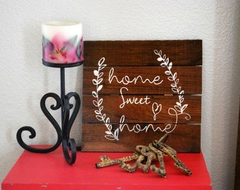 "Reclaimed Rustic Wood Home Sweet Home Sign with Laurels 12""x12"" //  Housewarming Gift // New Home //"