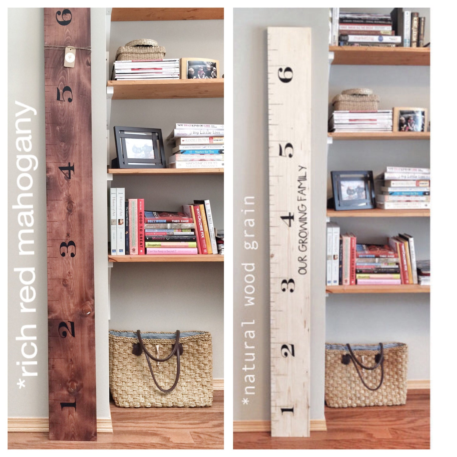 White Washed Rustic Stained Kids Measuring Ruler Stick
