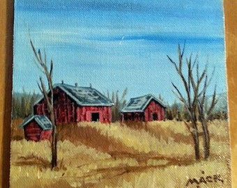 Red barns original painting