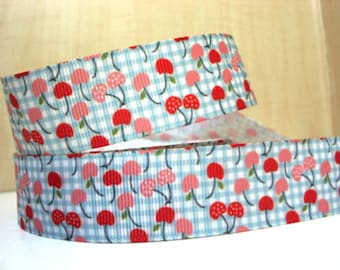 1 inch little CHERRIES on LIGHT BLUE plaid printed grosgrain ribbon