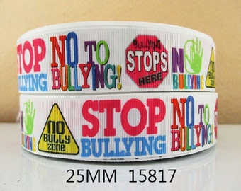 1 inch - Stop Bullying - No Bullying Colorful Letters - Awareness 15817 - Printed Grosgrain Ribbon for Hair Bow