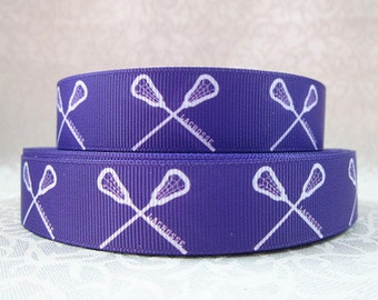 7/8 inch - LACROSSE - White on Purple - SPORTS - Printed Grosgrain Ribbon for Hair Bow