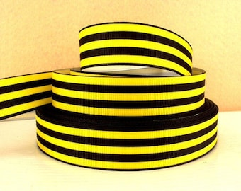 7/8 inch Yellow and Black Horizontal Stripes - Printed Grosgrain Ribbon for Hair Bow