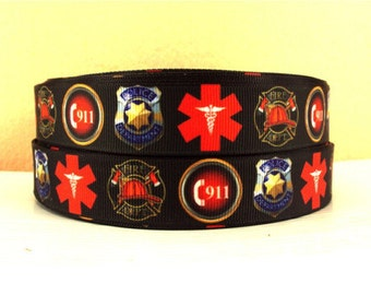 7/8 inch Police EMS / 911 / Medical on Black Printed Grosgrain Ribbon for Hair Bow