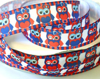 1 inch - Cutest 4th of July Owls - Red, White and Blue - owl - Printed Grosgrain Ribbon for Hair Bow