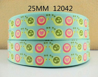 1 inch LOVE SNAILS - STYLE 12042 - Printed Grosgrain Ribbon for Hair Bow