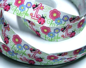 1 inch Pink Ladybug First Birthday - Printed Grosgrain Ribbon for Hair Bow