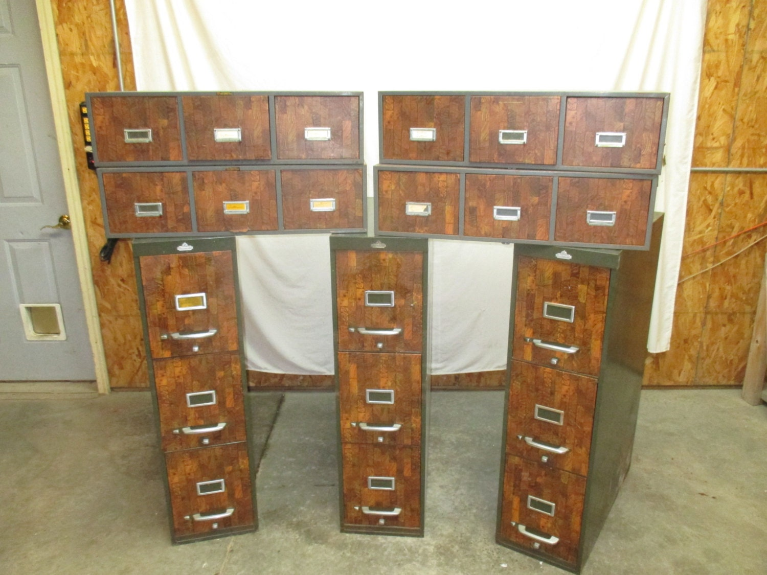 7 File Cabinets Metal All Steel Equipment Asco Library Card