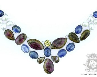 Paraiba Watermelon Tourmaline KYANITE Cultured Pearls 925 SOLID Sterling Silver Necklace