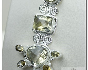 69 Carats BRIOLETTE Cut LEMON TOPAZ 925 Solid Sterling Silver Pendant + Free Worldwide Shipping P1956