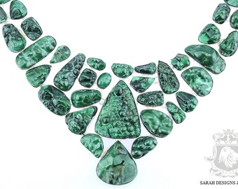 Multi Layered Large Size CANADIAN MALACHITE DRUSY 925 Solid Sterling Silver Necklace & Free Worldwide Shipping N310