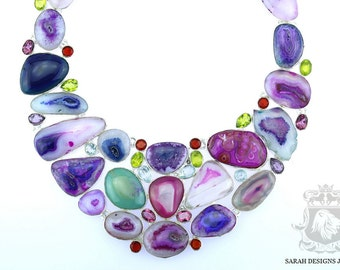 Truly Unique!  Precise Color Coordinated Genuine BOTSWANA Banded Agate DRUSY 925 Solid Sterling Silver Necklace n313