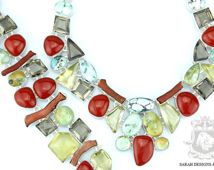 TIBETAN TURQUOISE CORAL Smoky Topaz 925 Solid Sterling Silver Necklace Set 171