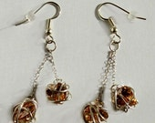 Wire Wrap Earrings Heart Dangle Earrings, Cubic Zirconia Earrings