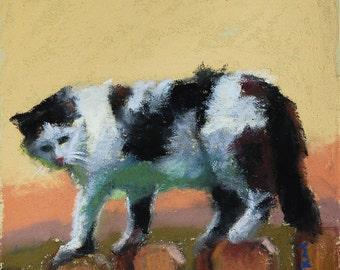 "Neighborhood Cat 3. 4""x4"" - Original Pastel on Paper Painting. Art, cute, gift idea, home, decoration, pet, cat, kitty, black, white"