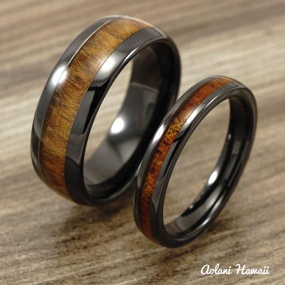 Wedding ring set black ceramic ring with koa wood by for Black ceramic wedding ring