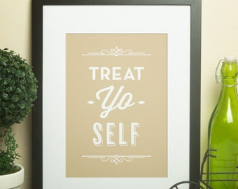 Custom Home Decor- Treat Yo Self Wall Art with Customized Color