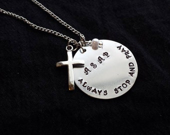 Hand Stamped ASAP Necklace (Always Stop And Pray)