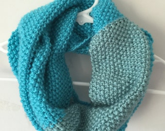 Hand Knit Infinity Scarf - Turquoise/Sea Foam
