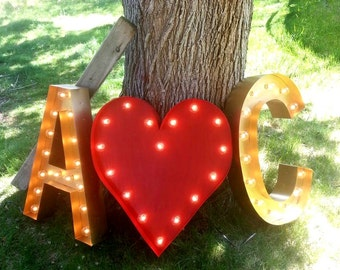 """3 Custom 24"""" Wedding Letters - 2 Initials w/ Heart sign for wedding - Initial Light Bulb Letter Sign, Marquee Signs"""