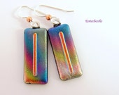 Rainbow Heaven Handmade Dichroic Glass Dangling Earrings