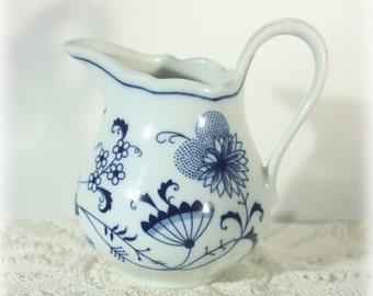 1918 Schwarzenbach Winterling Porcelain Blue Onion Creamer Transferware White Blue