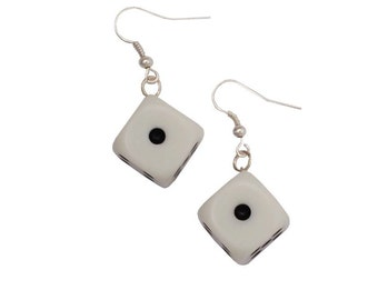 Dice earrings from a recycled Yatzy, white earrings, gamer earrings, geek earrings- sold in pair