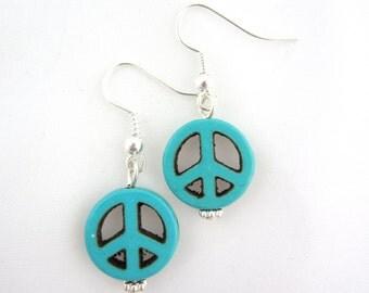 Peace earrings in stone, stone earrings, hippie earrings, peace sign earrings, turquoise peace earrings- sold in pair