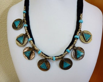Ethnic Necklace with Coin Pendans with Turquoise Stones, Vintage