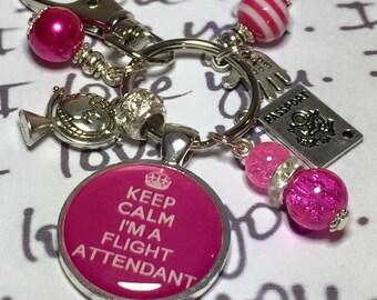 Flight Attendant keyring, Flight attendant keychain, flight attendant gift, cabin crew gift, cabin crew keyring