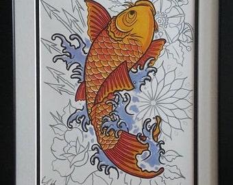 """Framed Koi Print - """"The Leap"""" by Sean."""