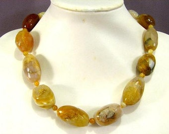 Necklace Yellow Botswana Agate 25-35mm Facet Nugget 925 NSAW5494