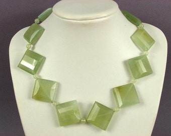 Necklace New Jade 35mm Facet Diamonds LT 925 NSNJ3470