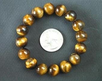 Bracelet Golden Tiger Eye AB 12mm Round stretch BSTE0903