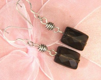 Earrings Smokey Quartz 14mm Facet Pillow 925 ESSQ1826