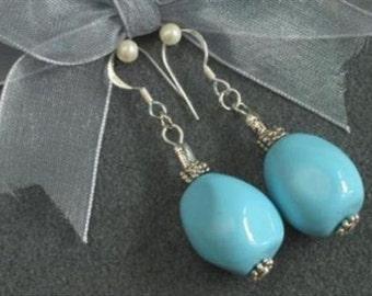 Earrings Blue South Sea Shell 19mm Nuggets 925 ESSH1653
