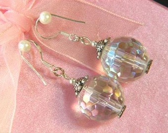 earrings White Rainbow Crystal 15mm Facet Round 925 EHXW0305